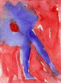 Rot, Blau, Surreal, Aquarell