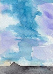Malerei, Surreal, Blau, Aquarell