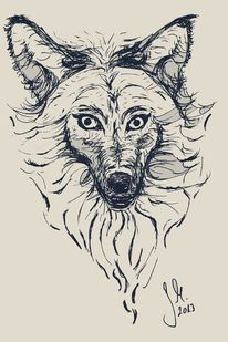 Illustration, Wolf, Photoshop, Scribble