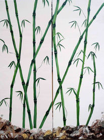 Baum, Grün, Bambus, China