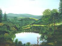 Landschaft, Eifel, Nadelwald, Wasser