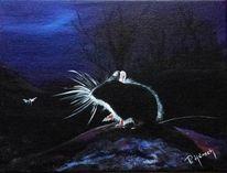 Nacht, Nagetier, Tiere, Acrylmalerei