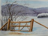 Winter, Schnee, See, Eifel