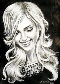 Gesicht, Lächeln, Acrylmalerei, Frau