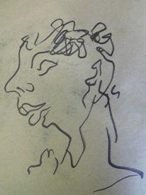 Blumen, Ausdruck, Frisur, Zeichnungen
