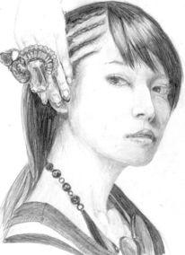 Asiate, Hand, Funkelnde, Glamure