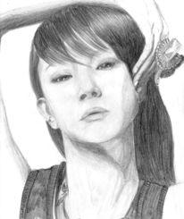 Mädchen, Korea, Zeichnungen, Portrait