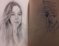 Girls, Portrait, Ausdruck, Zeichnungen