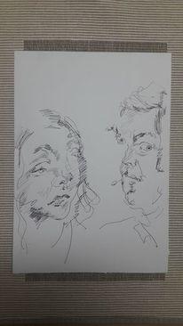 Gespräch, Frau, Mann, Zeichnungen