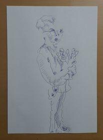 Mann, Junge, Tulpen, Zeichnungen