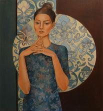 Malerei, Frauenportrait, Frau, Figural