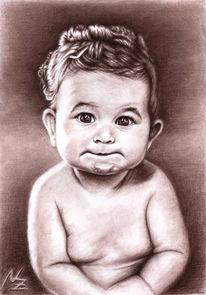Kohlezeichnung, Kind, Portrait, Kinderportrait