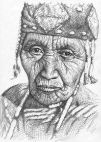 Klamath, Falten, Zeichnung, Frau