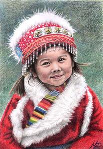 Asien, Tibet, Tracht, Mädchen