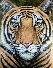 Tierportrait, Tieraugen, Acrylmalerei, Katze