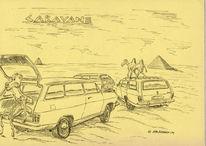 Mobil, Auto, Zeichnung, Federzeichnung