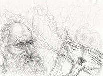 Skizze, Darwin, Karikatur, Bleistiftzeichnung