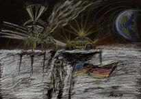Buntstiftzeichnung, Landung, Pastellmalerei, Astronaut