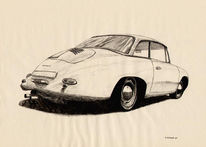 Federzeichnung, Auto, Oldtimer, Zeichnungen