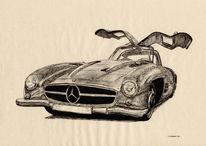 Auto, Federzeichnung, Oldtimer, Zeichnungen