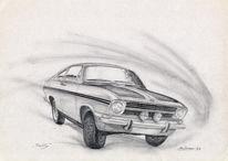 Oldtimer, Bleistiftzeichnung, Auto, Zeichnung