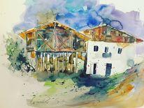 Südtirol, Aquarellmalerei, Bauernhaus, Aquarell