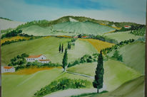 Italien, Natur, Aquarellmalerei, Landschaft