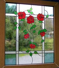 Bleiglasfenster, Glasfenster, Rose, Fenster