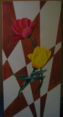 Karo, Blumen, Tulpen, Braun