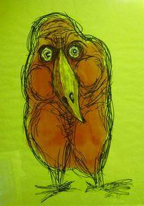 Vogel, Rot, Malerei, Tiere