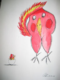 Ei, Vogel, Rot, Malerei