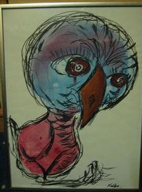 Aquarellmalerei, Blau, Traurig, Rot