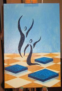 Blau, Tanz, Frau, Beige