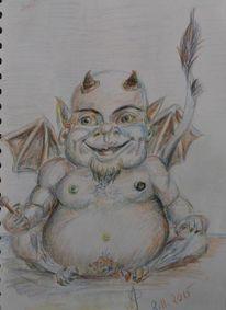 Teufel, Satyr, Buntstiftzeichnung, Zeichnungen