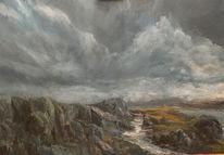 Bach, Wolken, Landschaft, Fluss