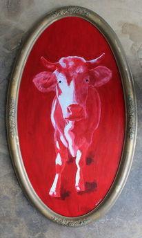 Zeitgenössische kunst, Hessen, Kuhhunst, Stier ölmalerei