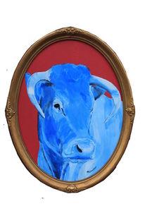Ölmalerei, Stier, Kuh, Landenhausen