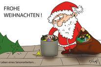 Pfandflaschen, Saisonarbeit, Weihnachten, Weihnachtsmann
