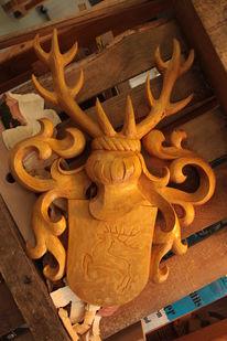 Wappen, Schnitzkunst, Geweih, Holz