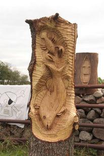 Schnitzkunst, Skulptur, Jagd, Fisch