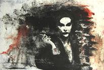 Acrylmalerei, Rot schwarz, Spachtel, Tusche