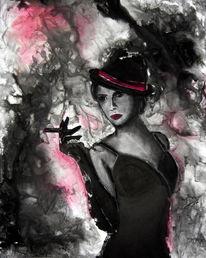 Frau, Hut, Pink, Rauch