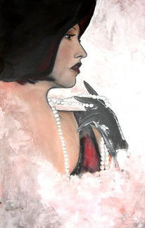 Frau, Hut, Rot schwarz, Perlen