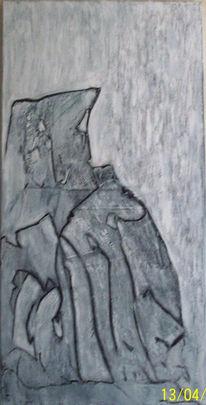 Spachtel, Grau, Acrylmalerei, Schwarz weiß