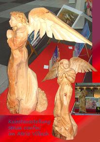 Holz, Schutzengel, Engel, Kettensäge