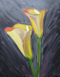 Schwarz, Calla, Blumen, Malerei