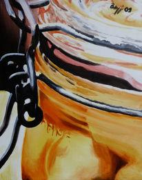 Ausschnitt, Einmachglas, Obst, Malerei