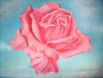Malerei, Stillleben, Rose