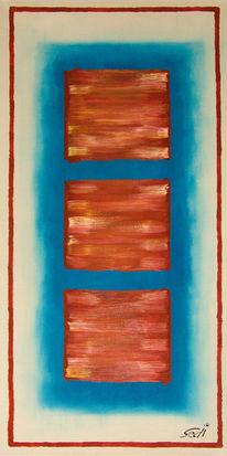 Blau, Rot, Altweiß, Quadrat
