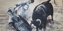 Kräftemessen, Stier, Duell, Malerei